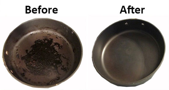 Before and After Clearing Burnt On Food in Pans and Pots